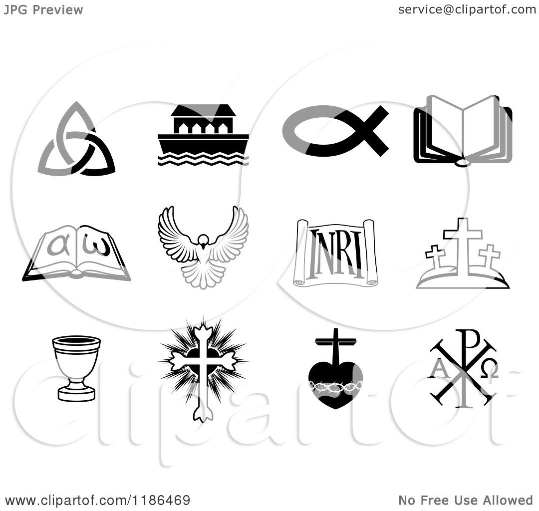 Clipart Of Black And White Christian Icons