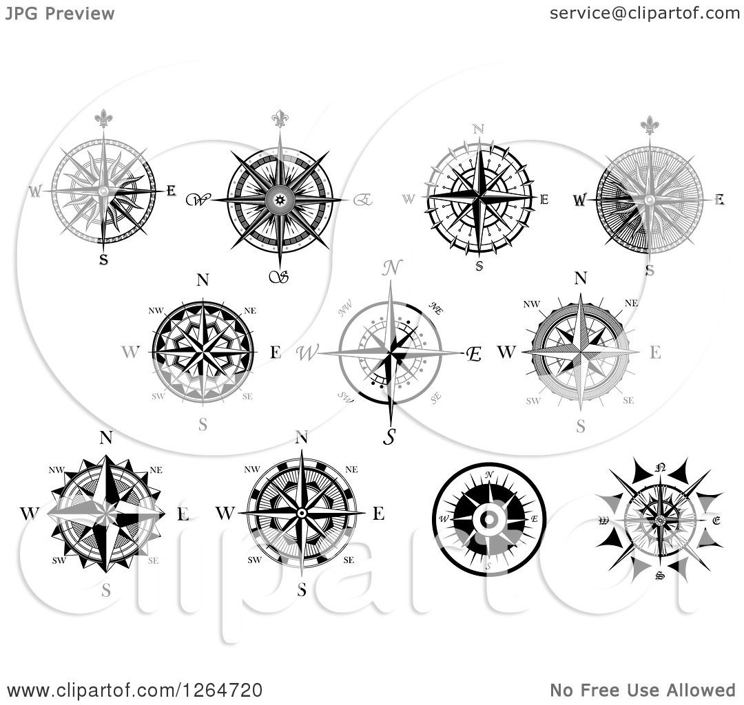 Clipart Of Black And White Compass Rose Designs
