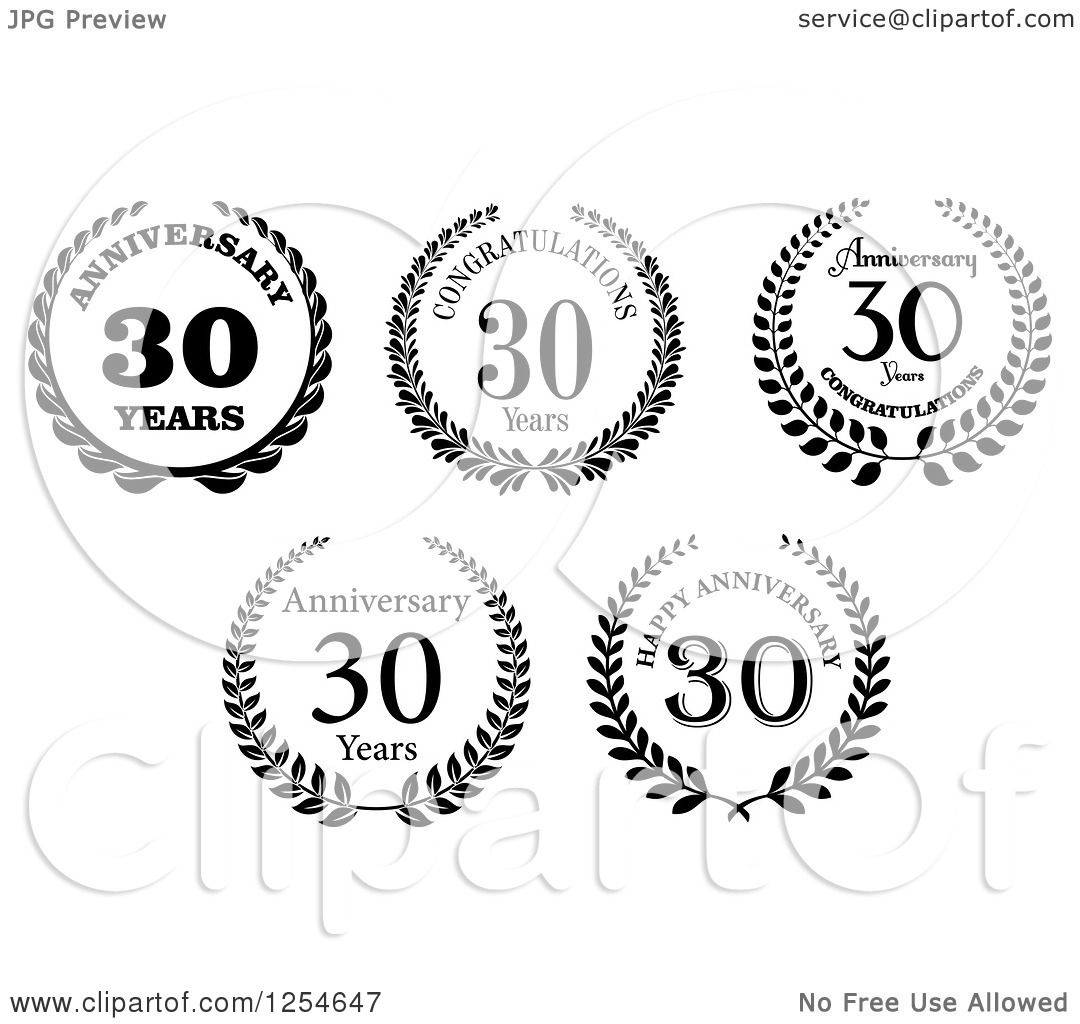 Download Clipart of Black and White Congratulations 30 Year ...