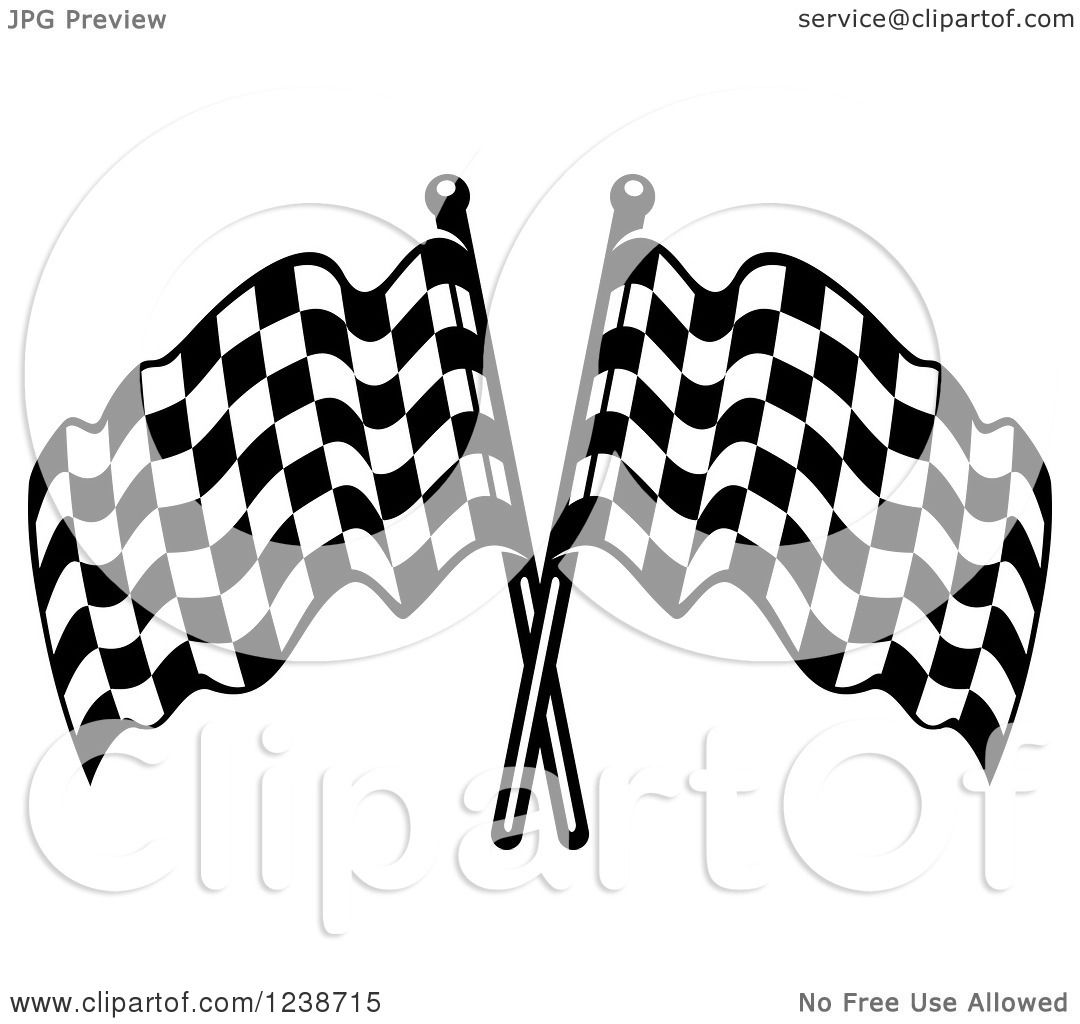 Clipart Of Black And White Crossed Racing Checkered Flags