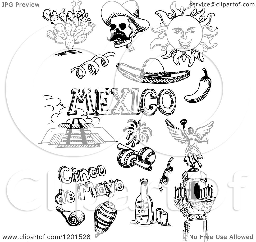 Clipart Of Black And White Doodled Mexican And Cinco De