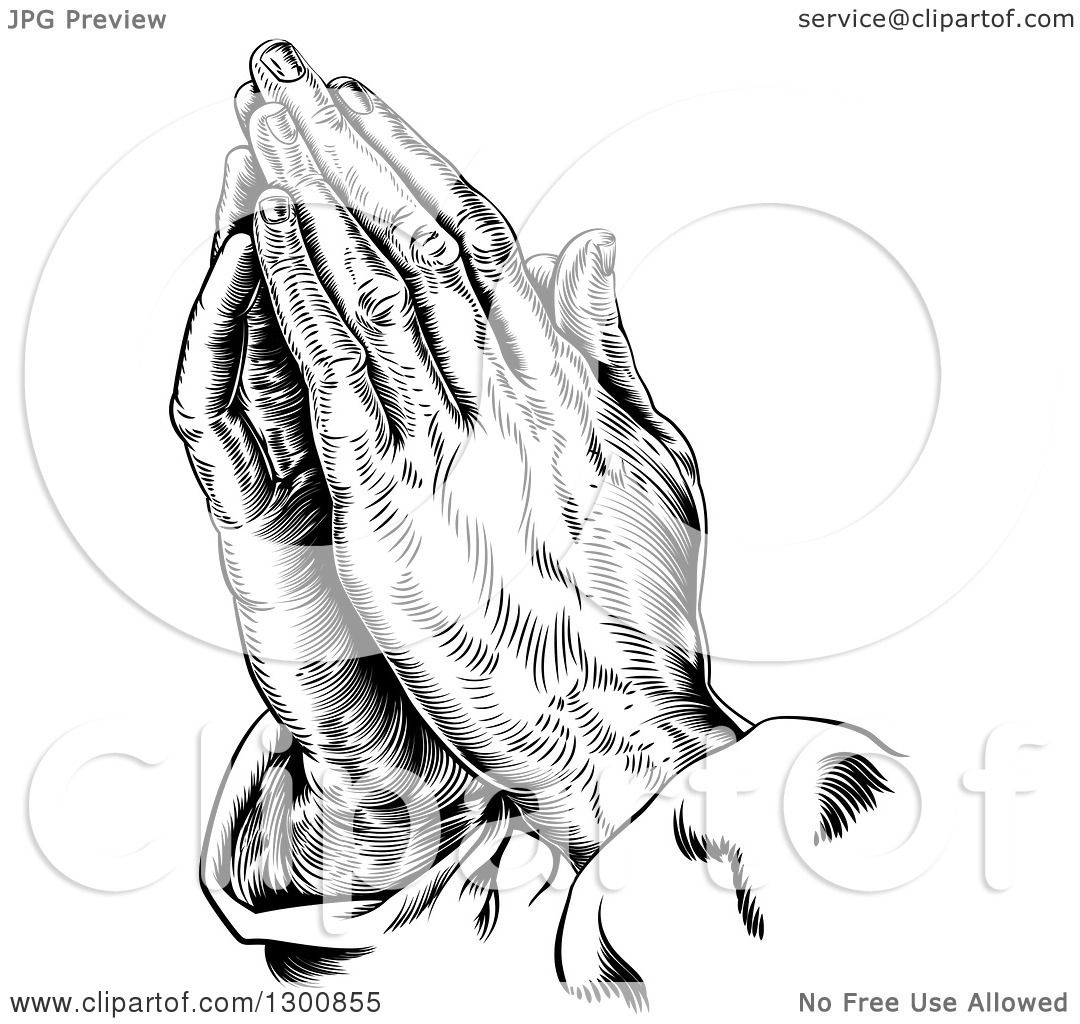 Clipart Of Black And White Engraved Praying Hands