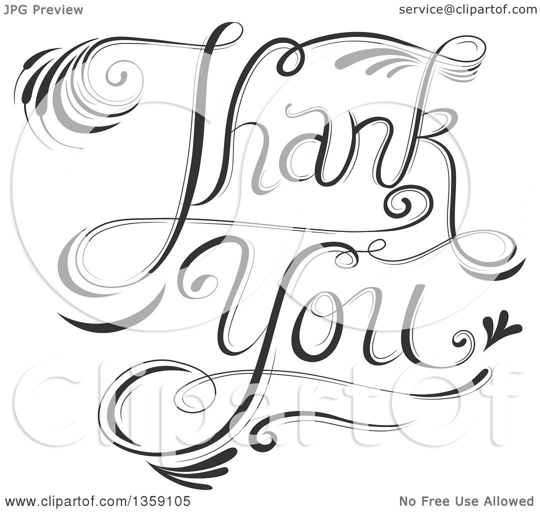 Clipart Of Black And White Fancy Calligraphic Thank You