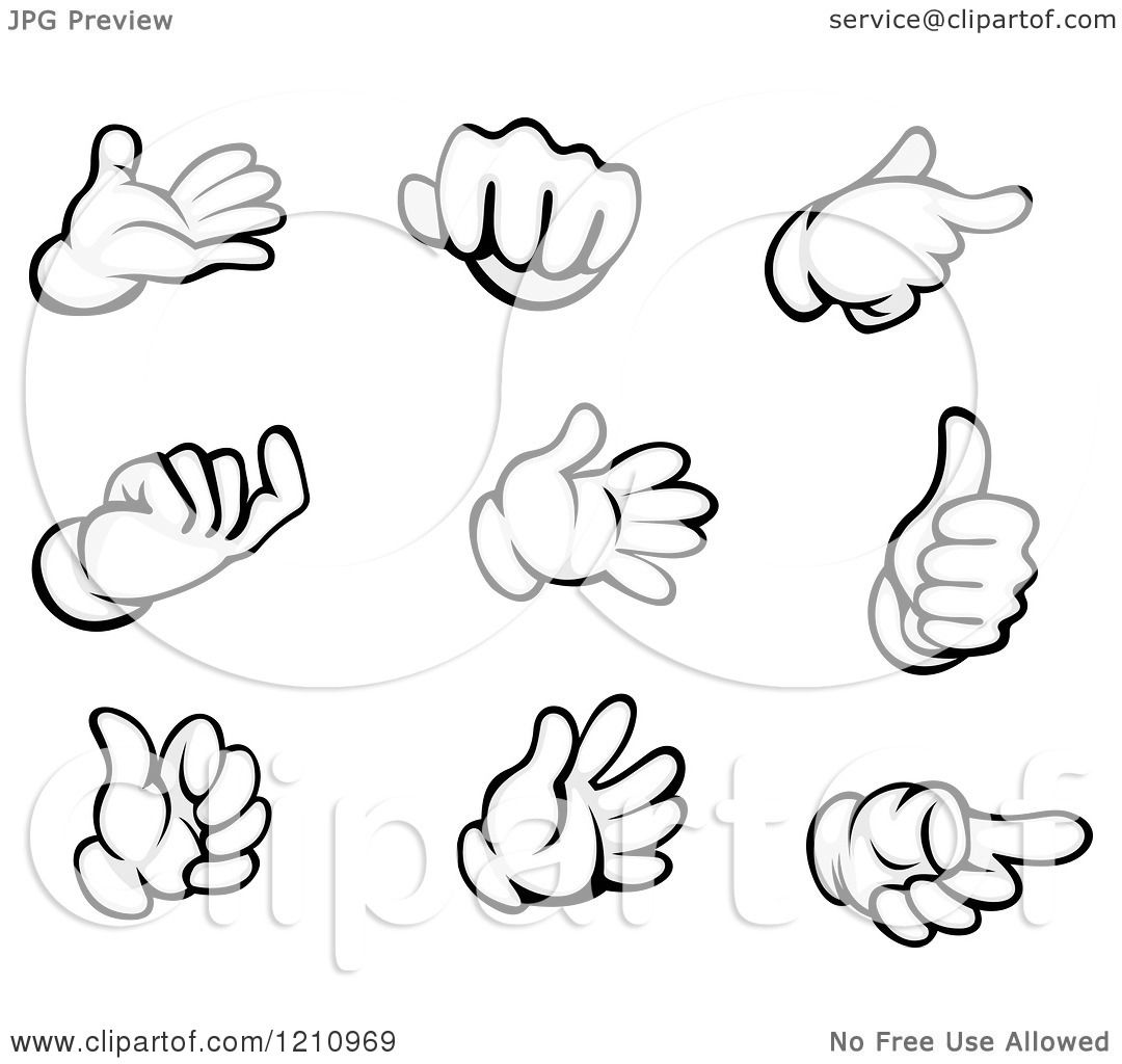 Clipart Of Black And White Gloved Hand Gestures