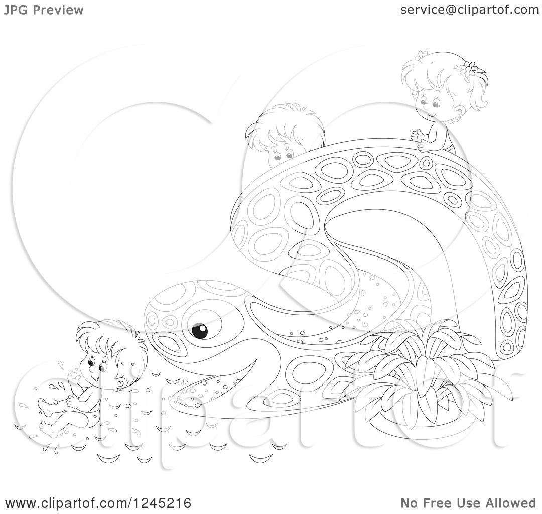 Clipart Of Black And White Happy Children Playing On An