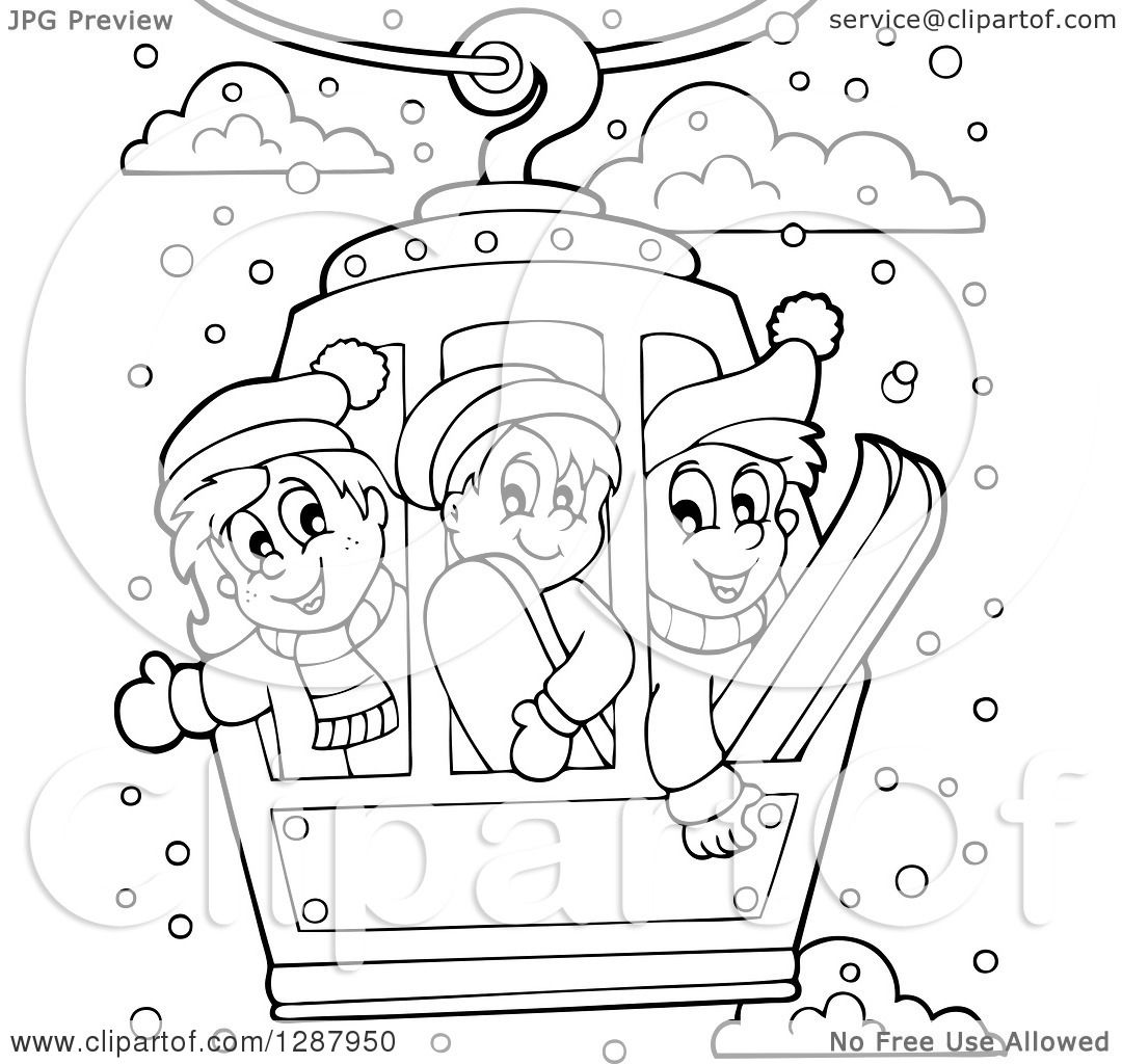 Clipart Of Black And White Happy Children Riding In A Ski