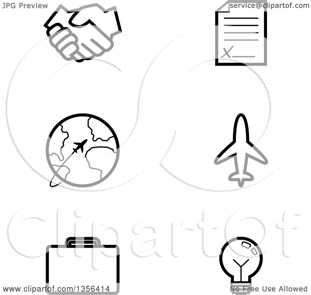 Clipart Of Black And White Lineart Business And Travel Icons