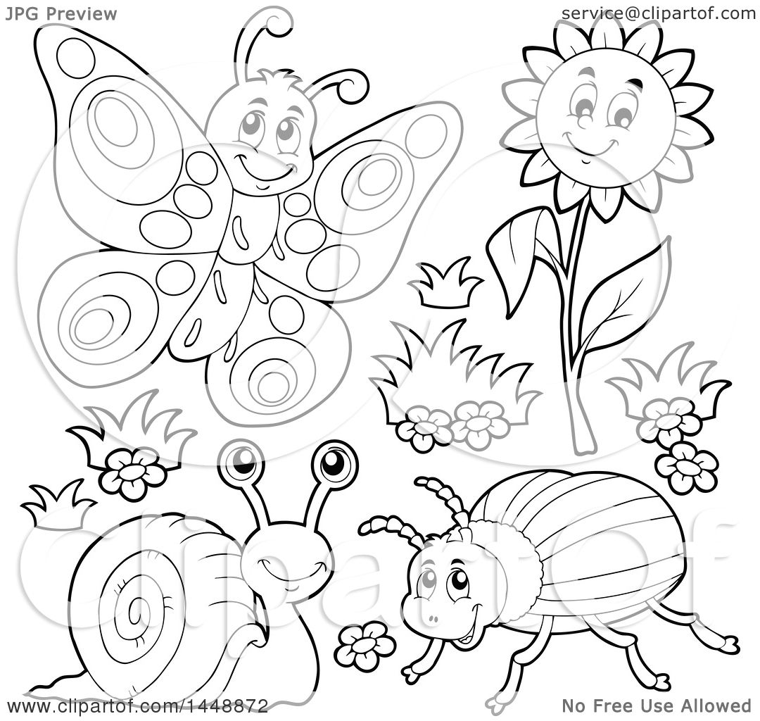 Clipart Of Black And White Lineart Butterfly Flower