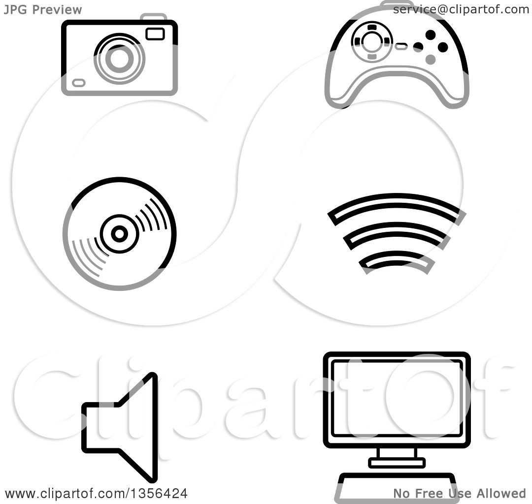 Clipart Of Black And White Lineart Computer And Gadget