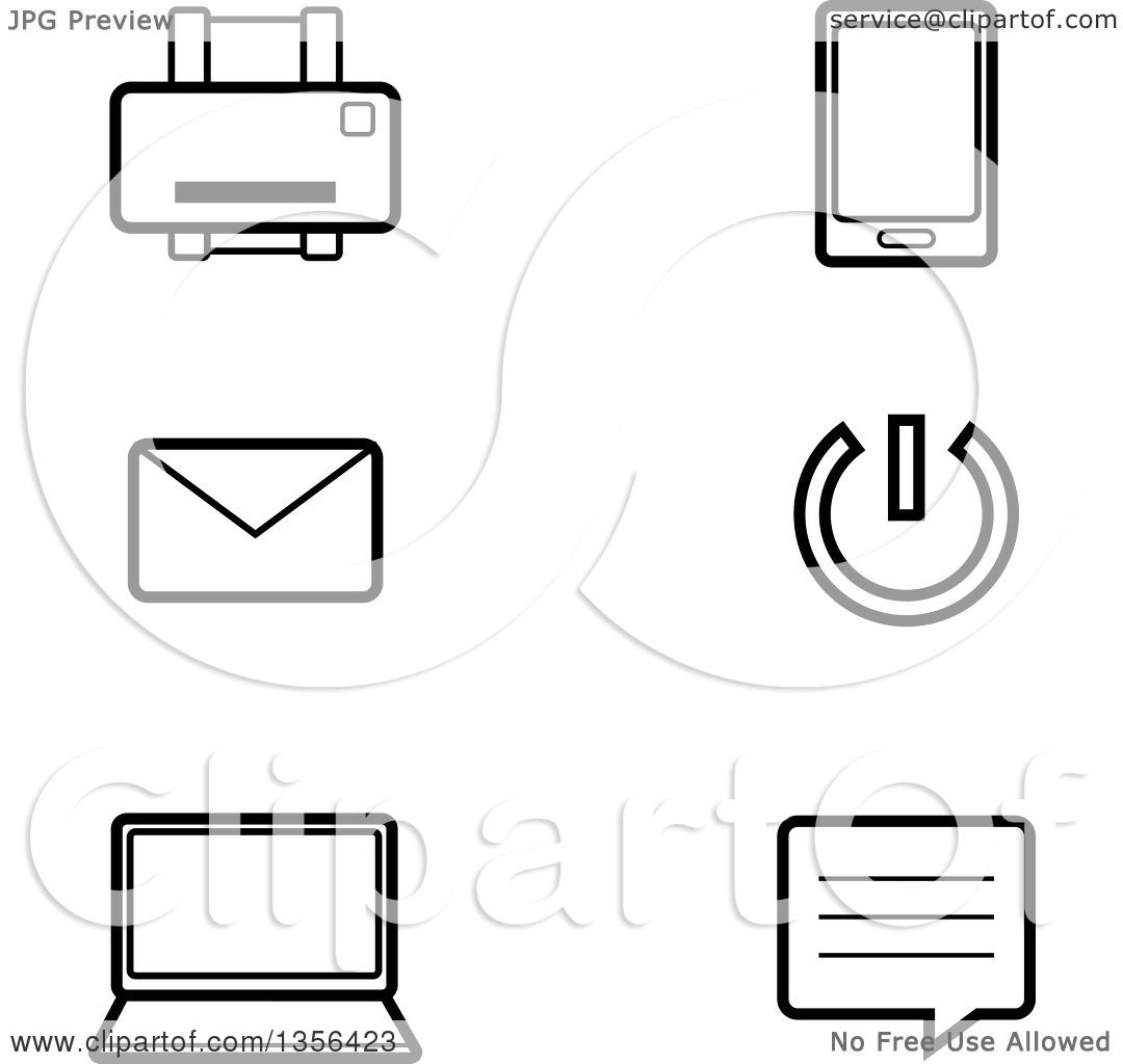 Clipart Of Black And White Lineart Computer Technology