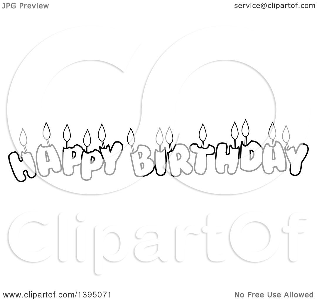 Clipart Of Black And White Lineart Happy Birthday Candle