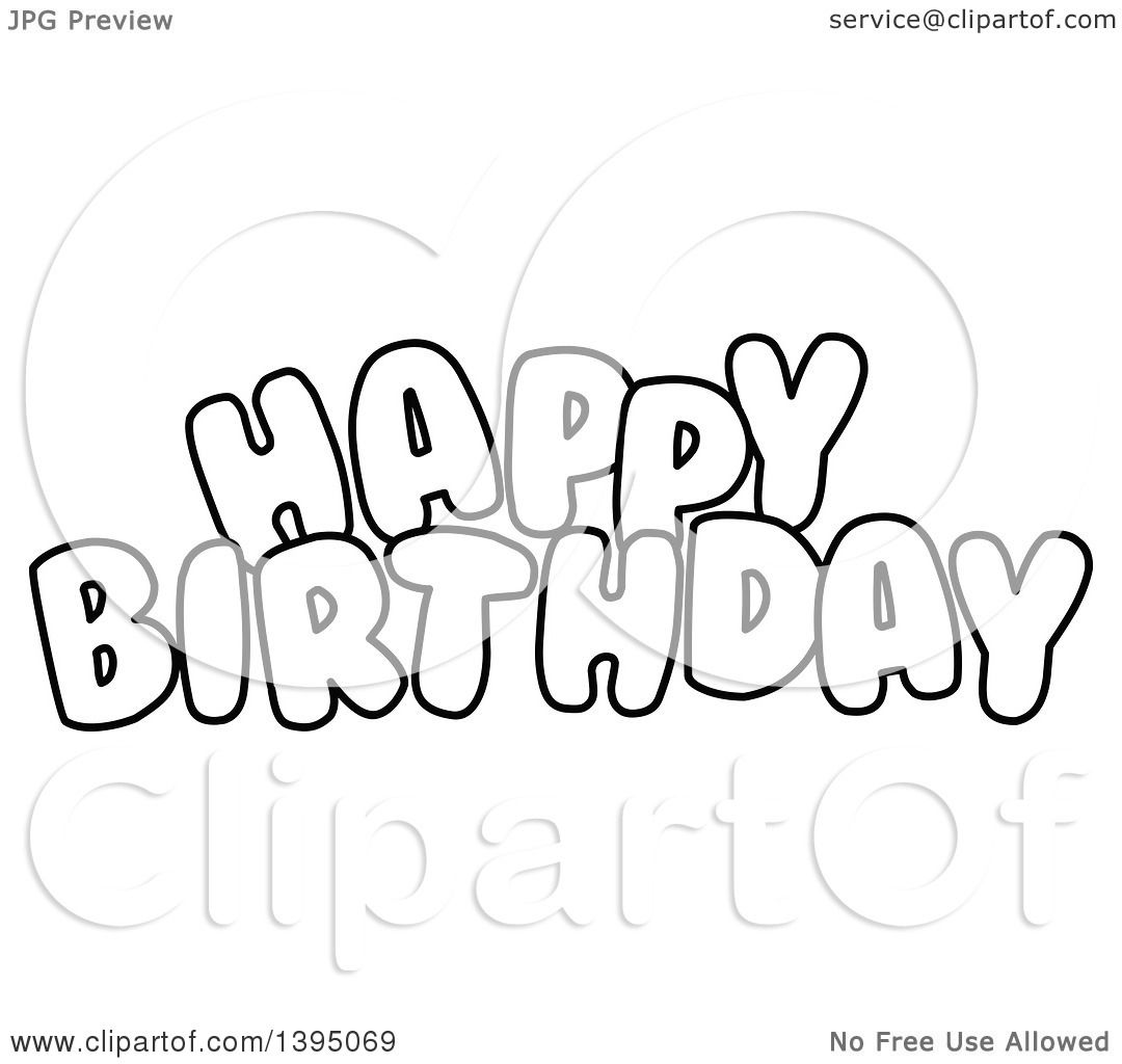 Clipart Of Black And White Lineart Happy Birthday Text