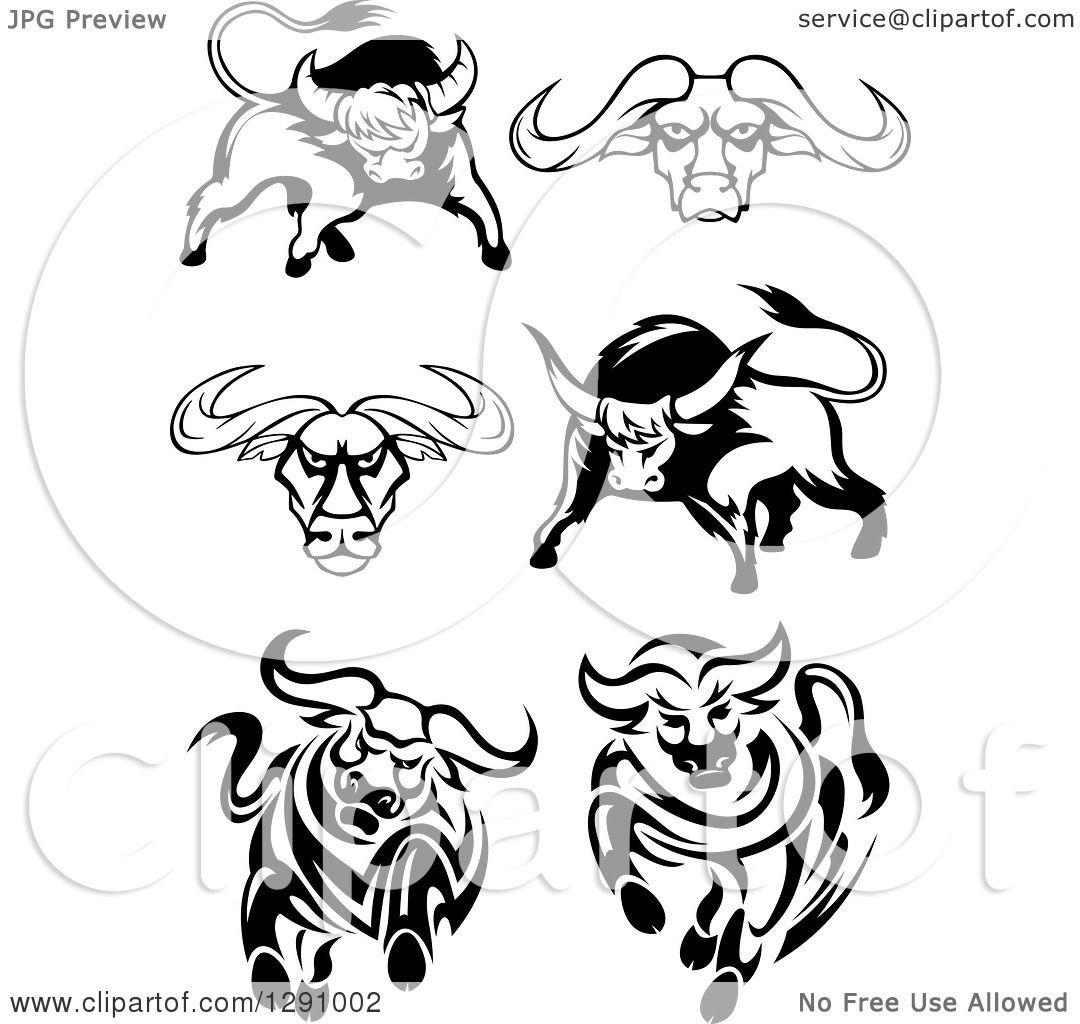 Clipart Of Black And White Longhorn Bulls