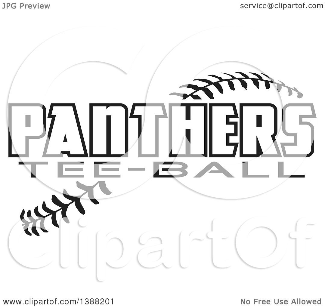 Clipart Of Black And White Panthers Tee Ball Text Over Baseball Stitches