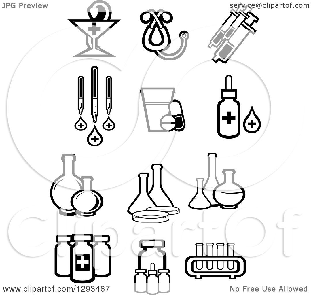 Clipart Of Black And White Pharmaceutical Medical And