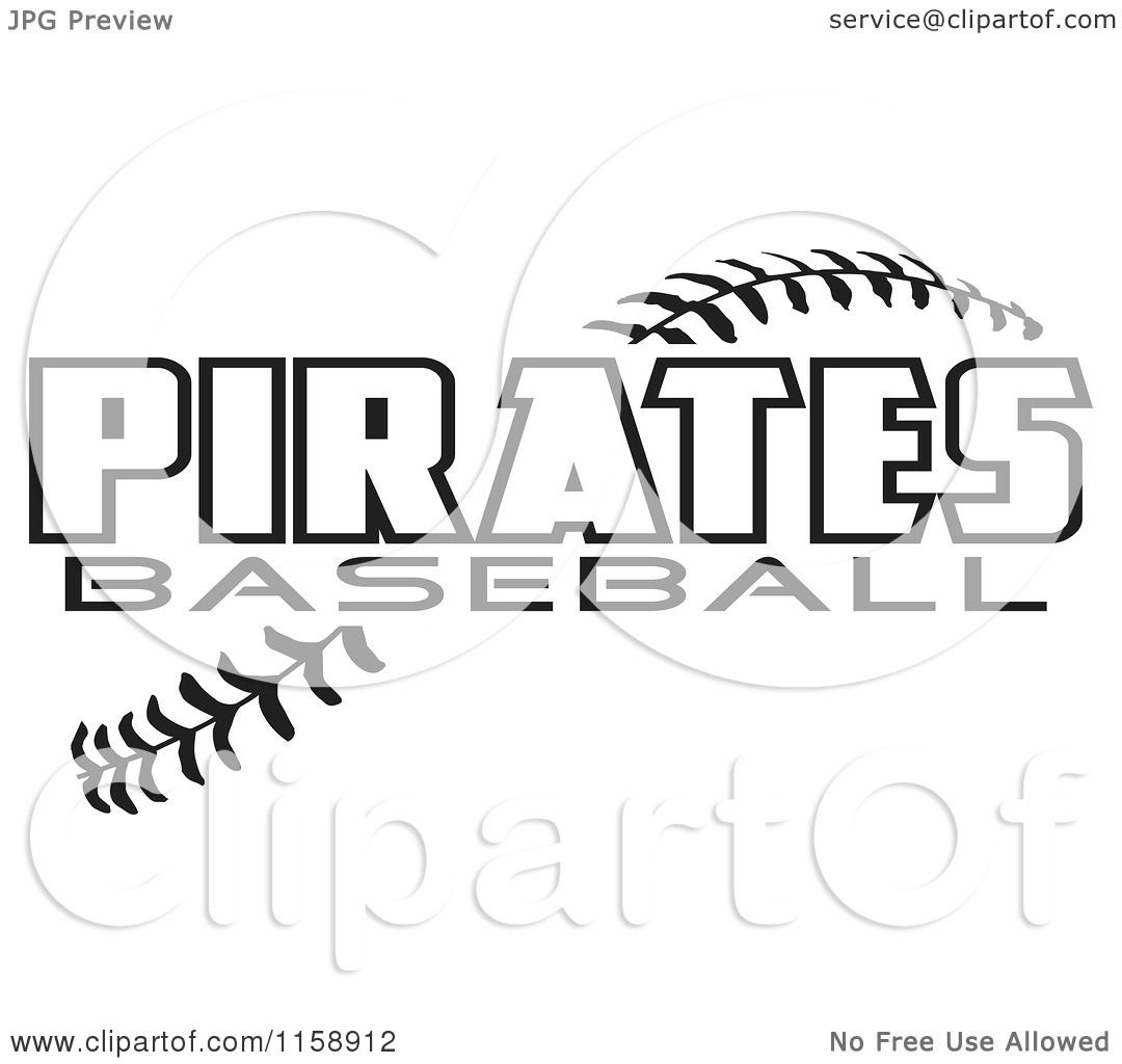Clipart Of Black And White Pirates Baseball Text Over