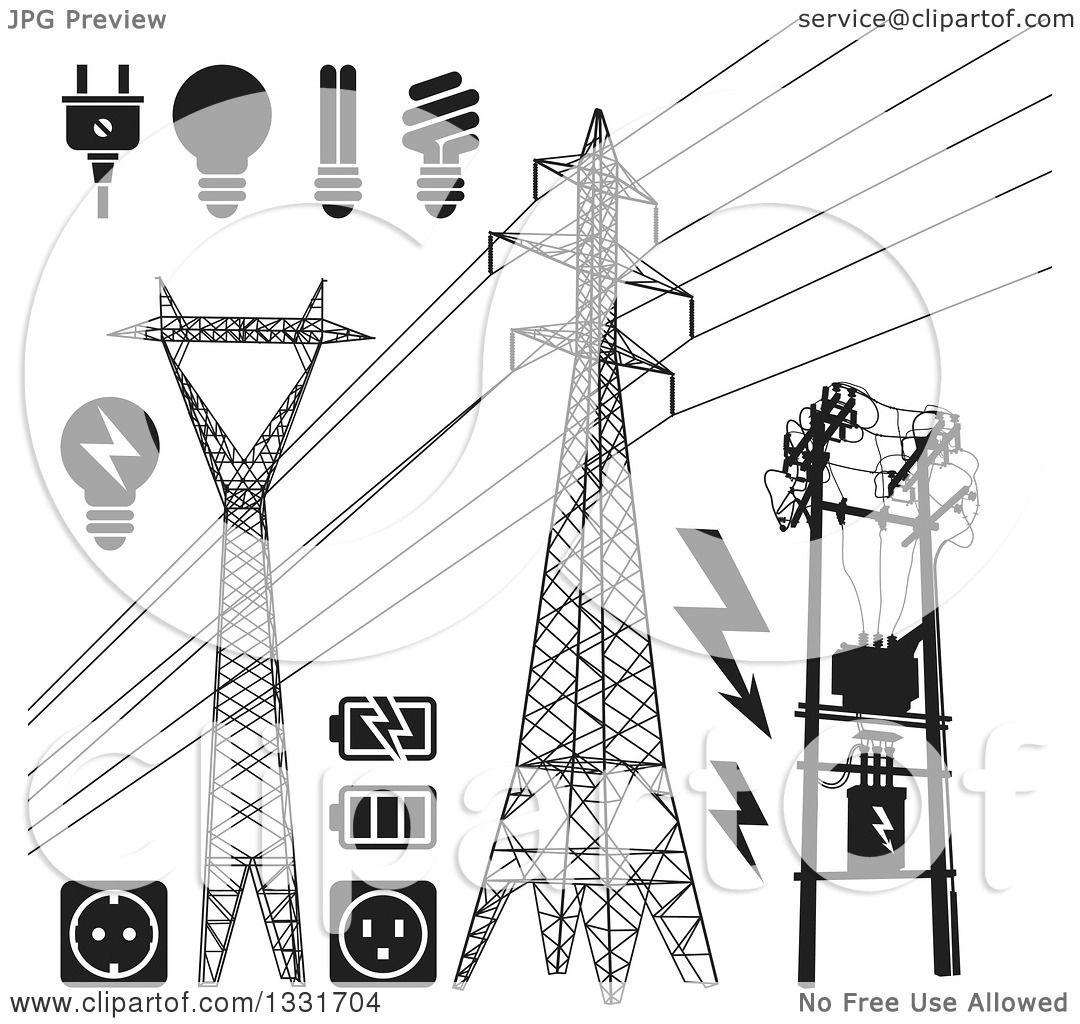 Clipart Of Black And White Power Pylons Lines Light