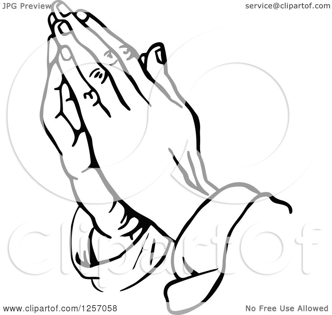 Clipart Of Black And White Prayer Hands