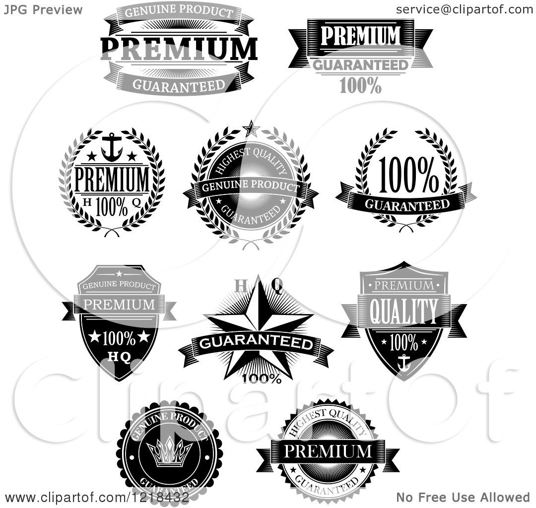 Clipart Of Black And White Quality Labels With Sample Text