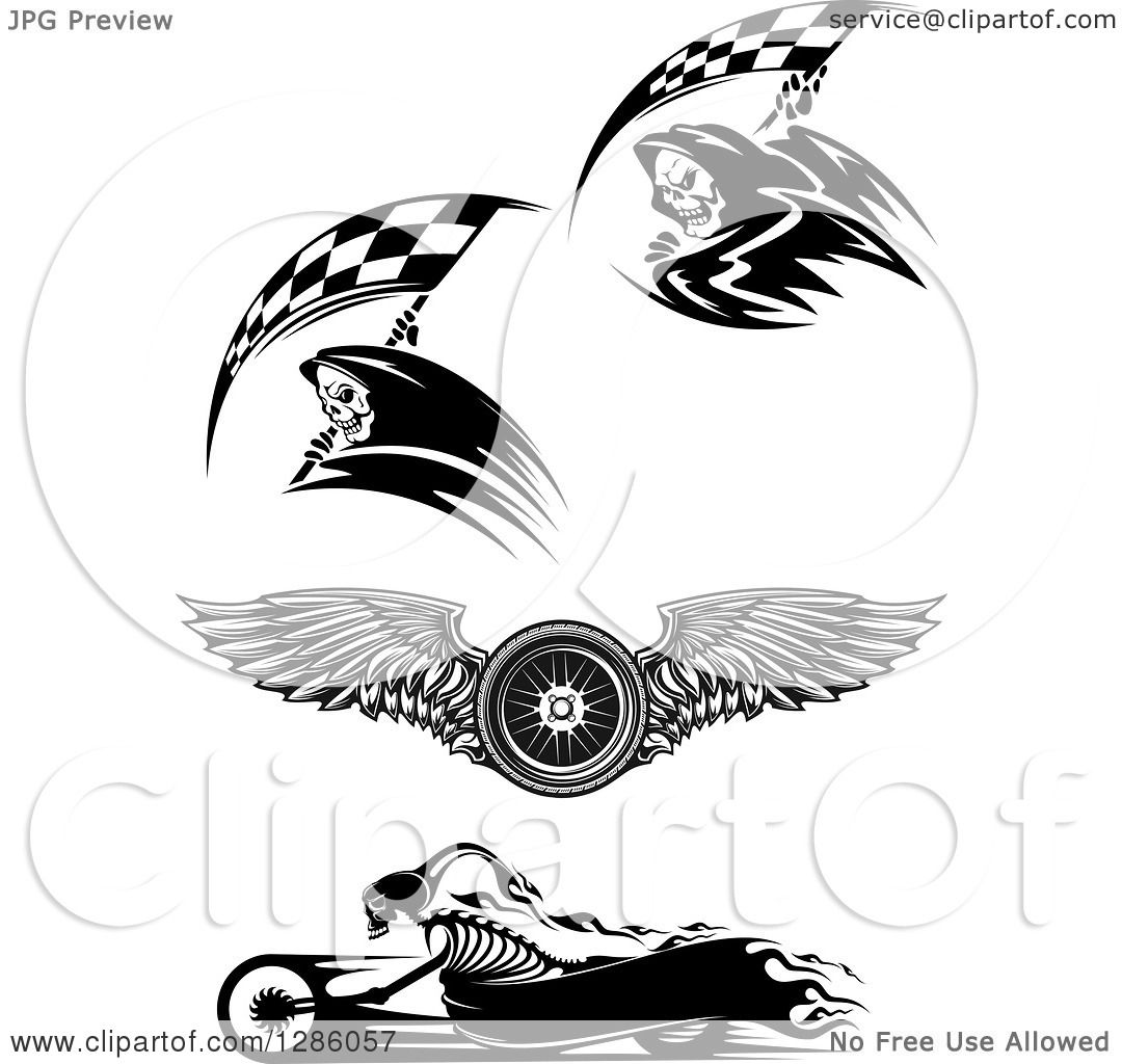 Clipart Of Black And White Racing Grim Reapers A Winged