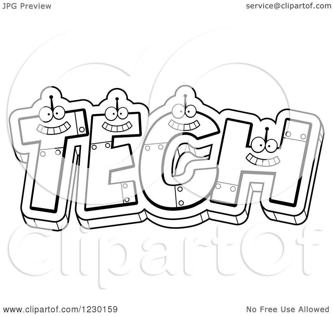 Clipart Of Black And White Robot Letters Forming The Word