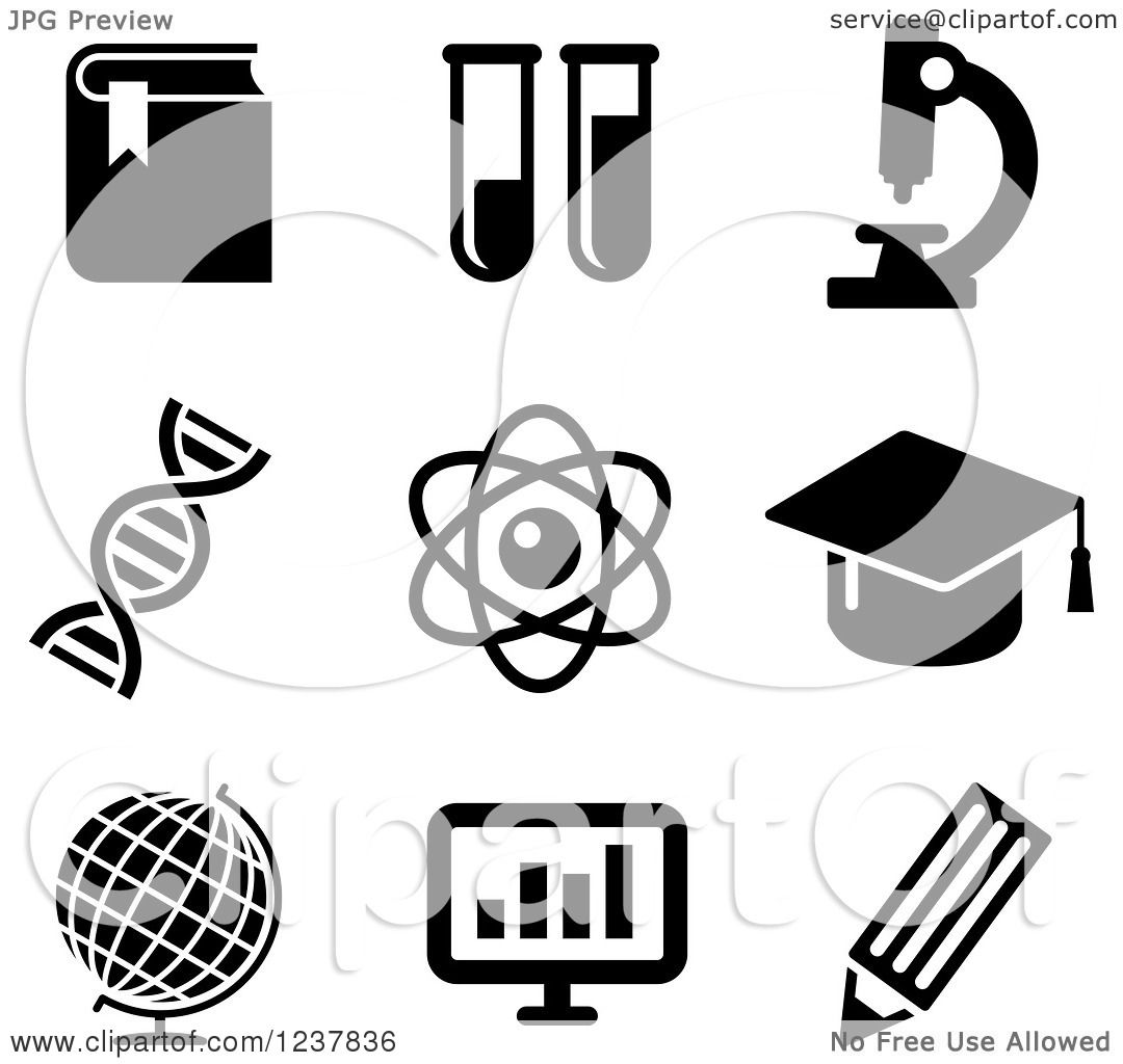 Clipart Of Black And White Science Icons