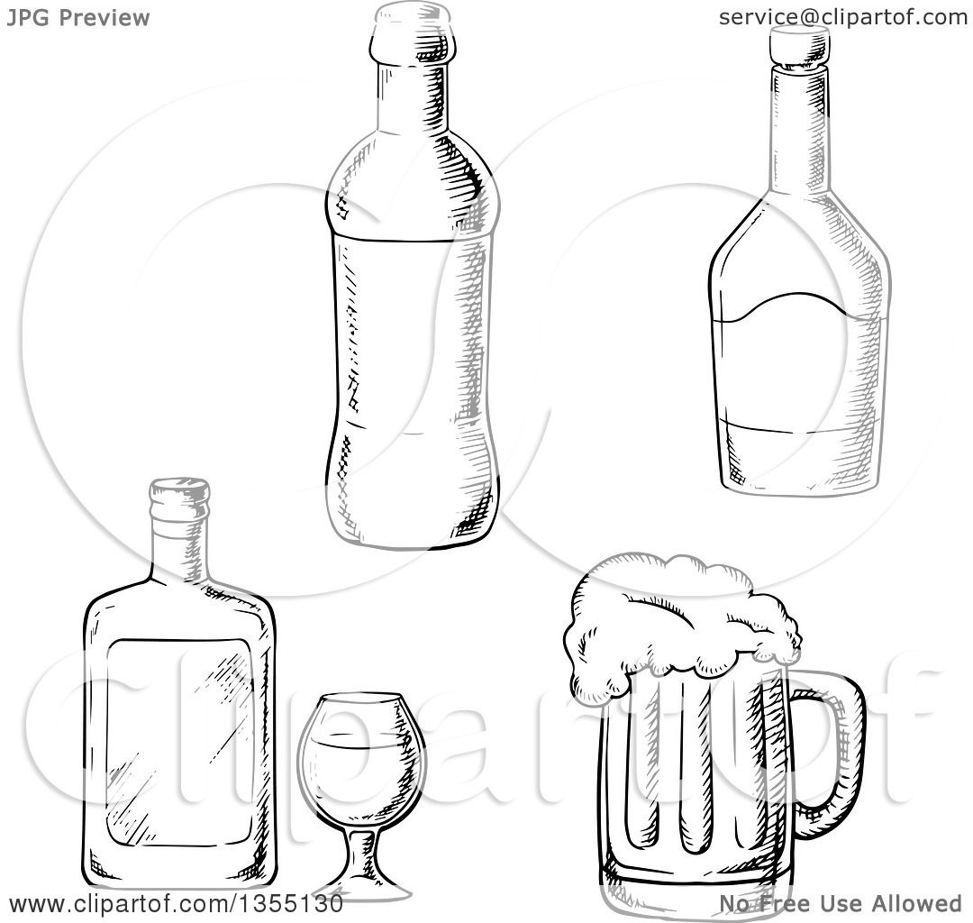Clipart Of Black And White Sketched Bottles Of Liquor And