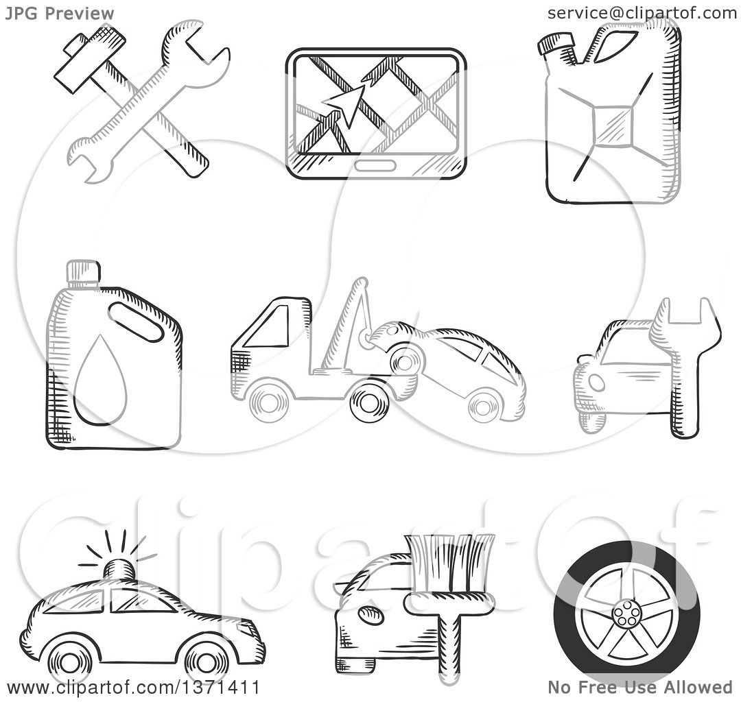 Clipart Of Black And White Sketched Tools Road Sign Oil