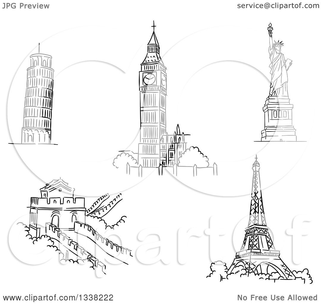 Clipart Of Black And White Sketches Of The Leaning Tower