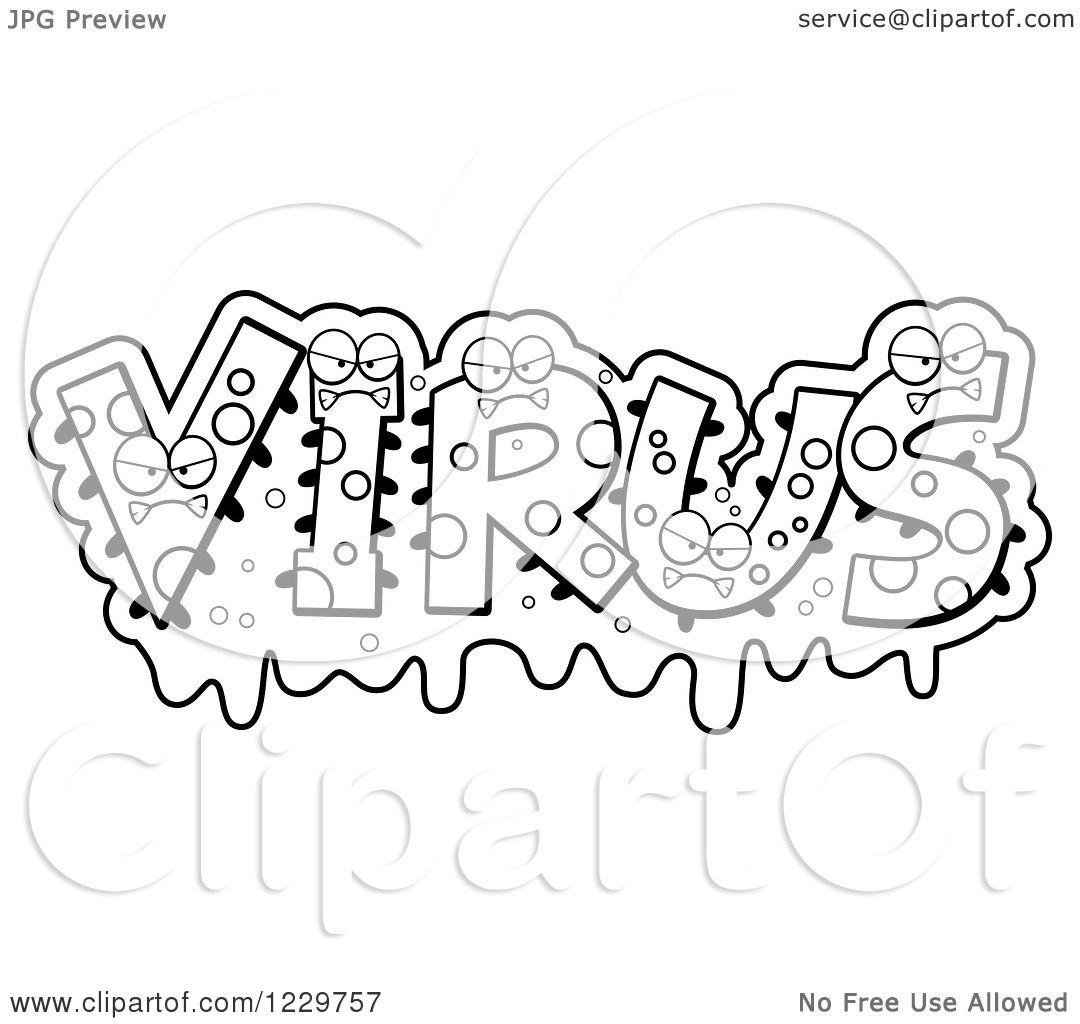 Clipart Of Black And White Snotty Monsters Forming The