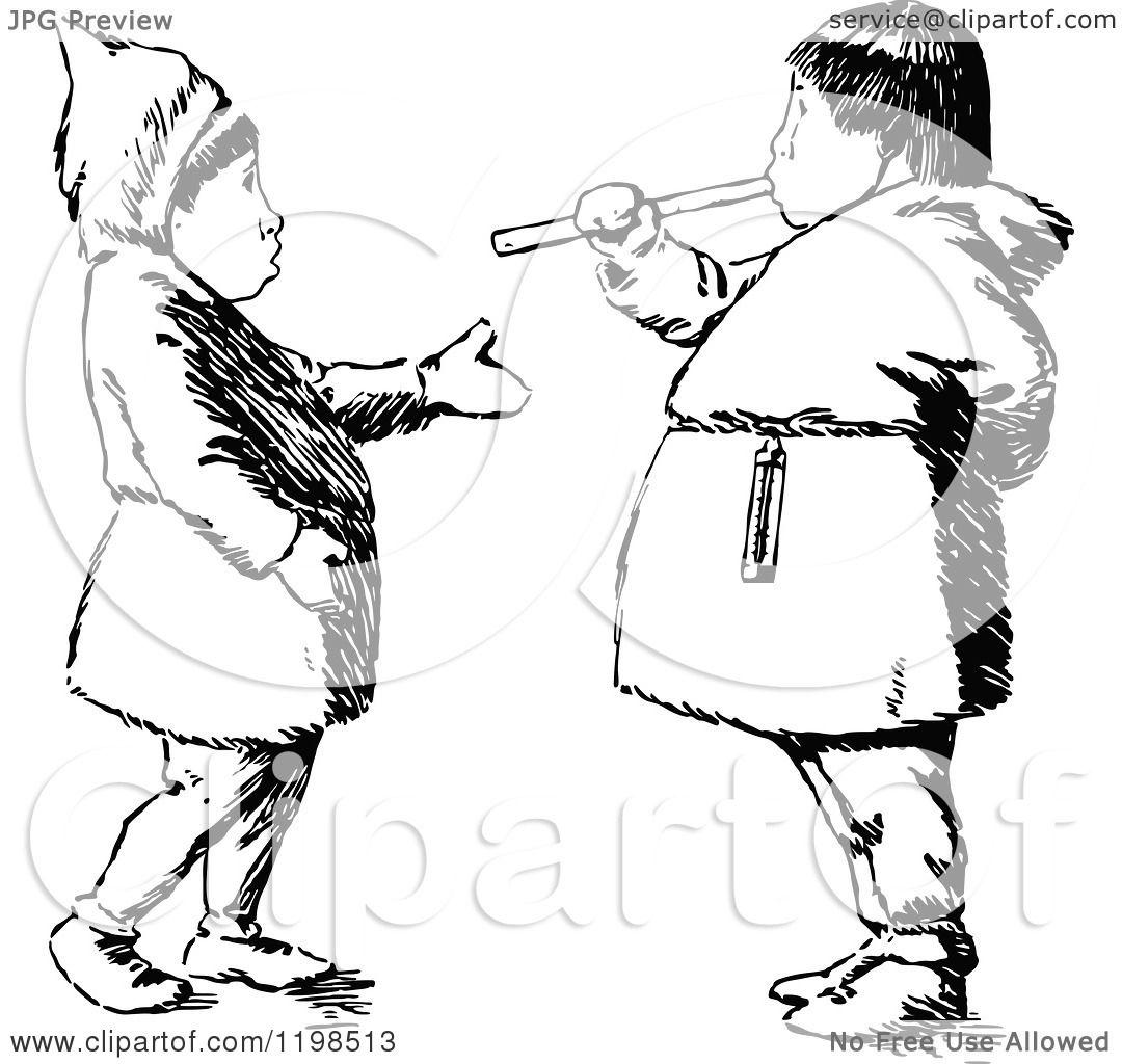 Clipart Of Black And White Vintage Eskimo Kids