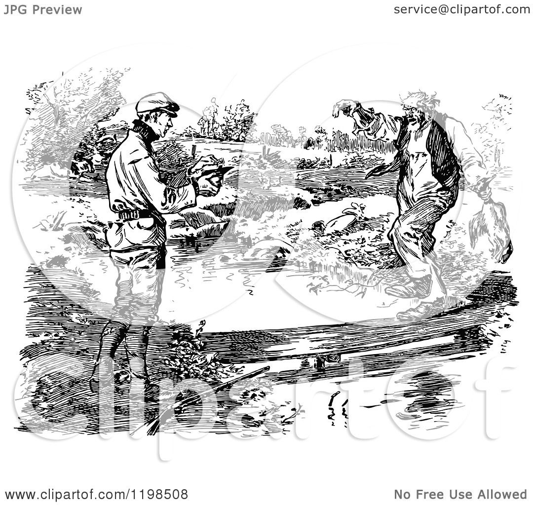 Clipart Of Black And White Vintage Men At A Country Creek