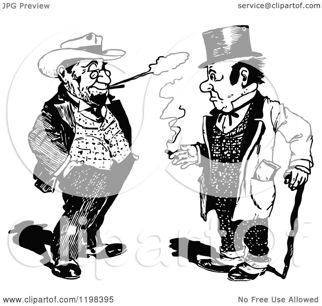 Clipart Of Black And White Vintage Two Men Smoking And