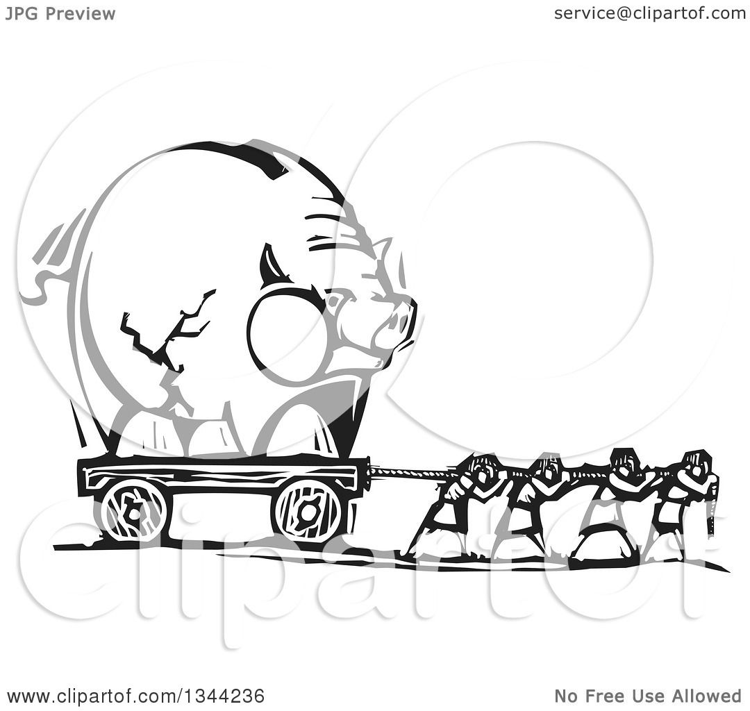 Clipart Of Black And White Woodcut People Pulling A