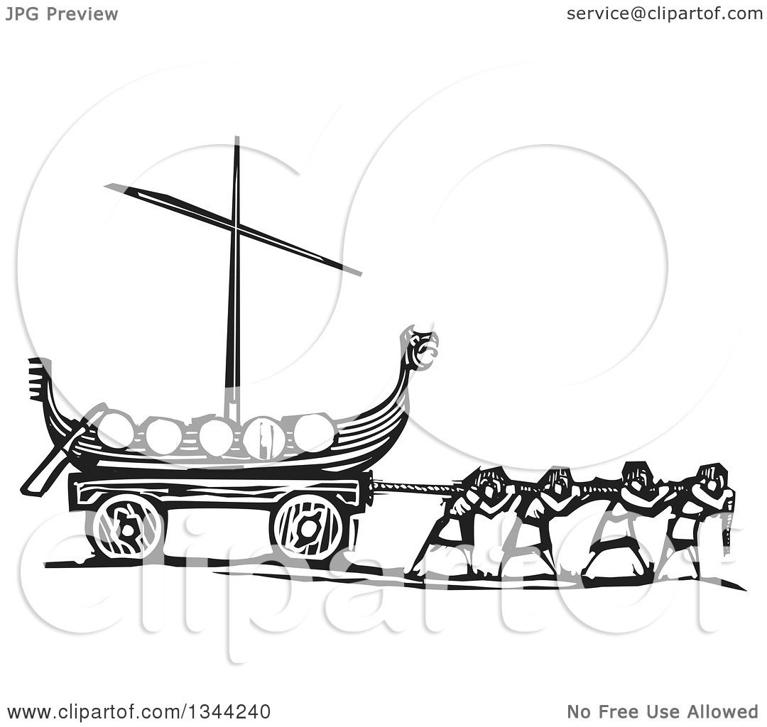 Clipart Of Black And White Woodcut People Pulling A Viking