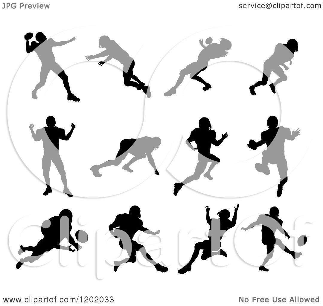 Clipart Of Black Silhouetted American Football Players In