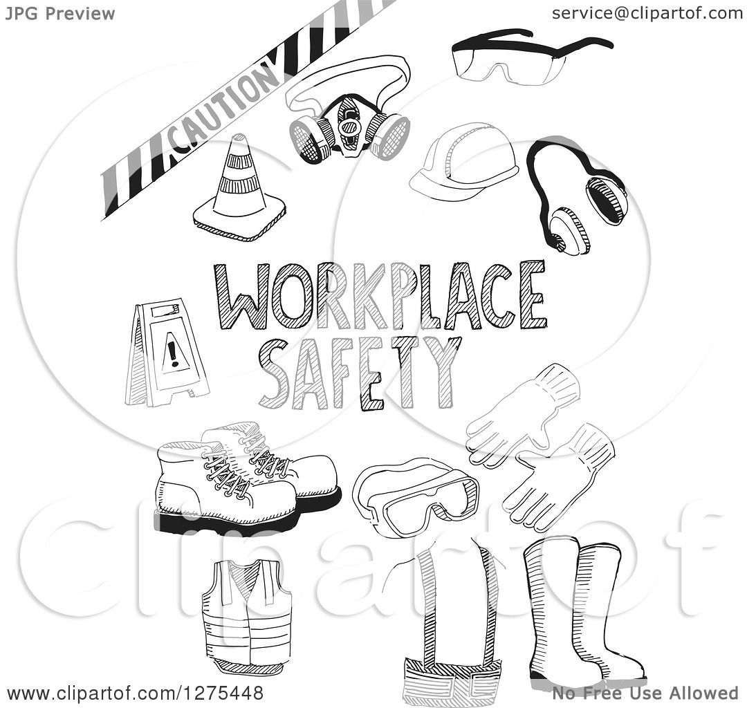 Clipart Of Black Sketched Workplace Safety Items