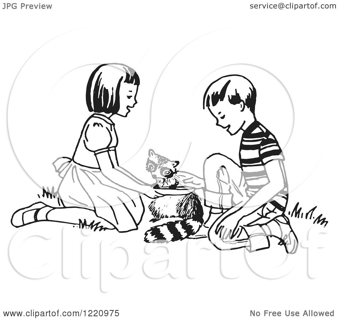 Clipart Of Children Rescuing A Raccoon