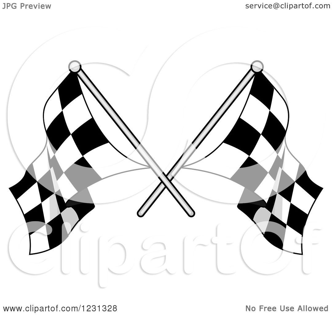 Clipart Of Crossed Checkered Racing Flags