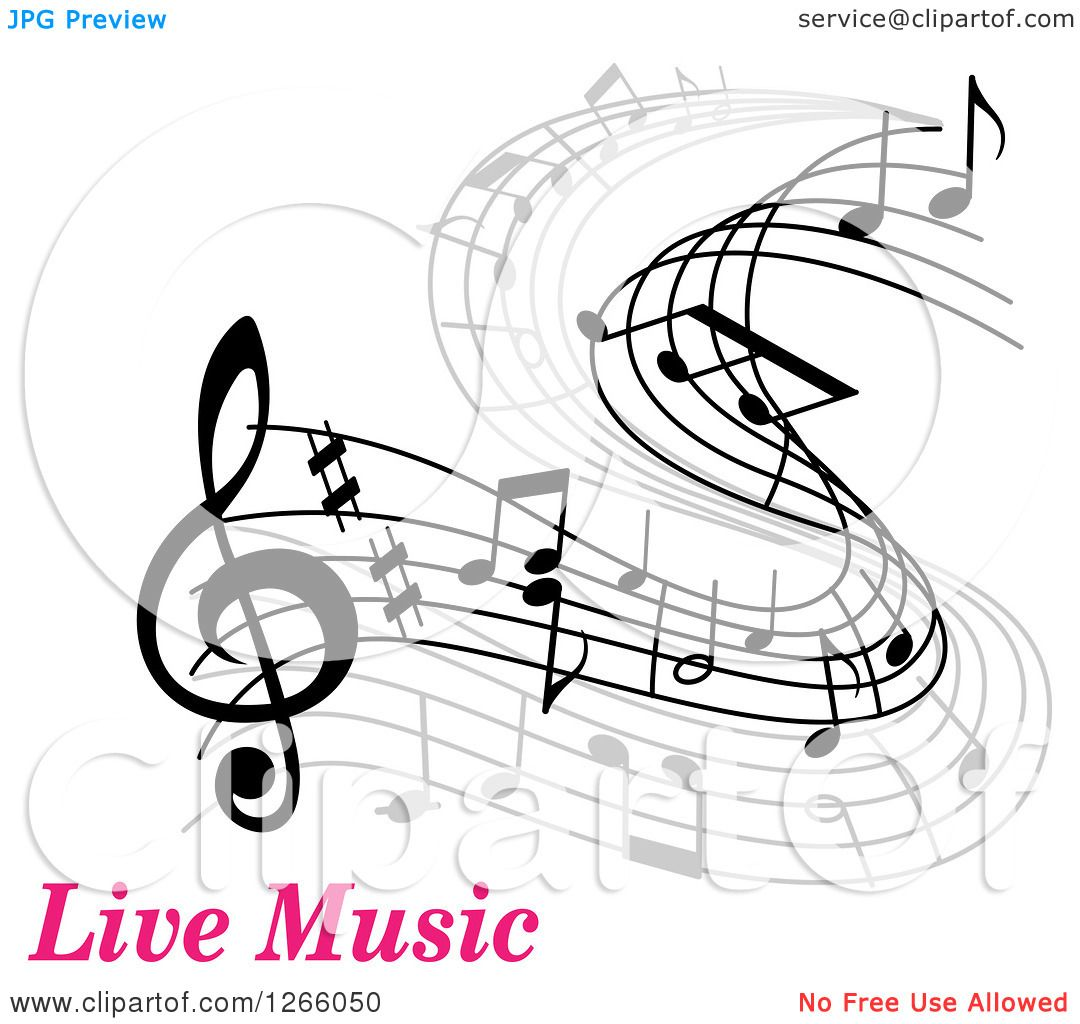 Clipart Of Grayscale Flowing Music Notes Over Pink Text
