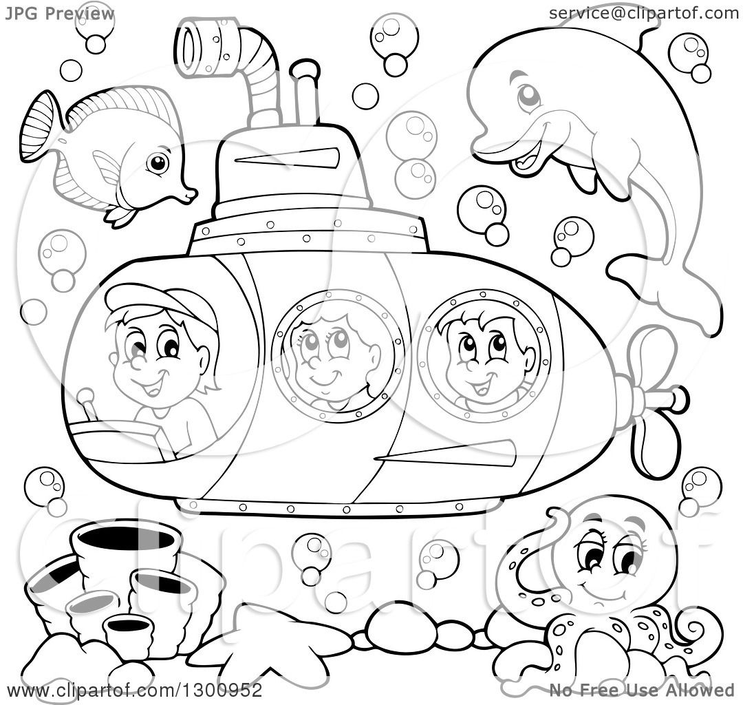 Clipart Of Happy Black And White Cartoon Children In A
