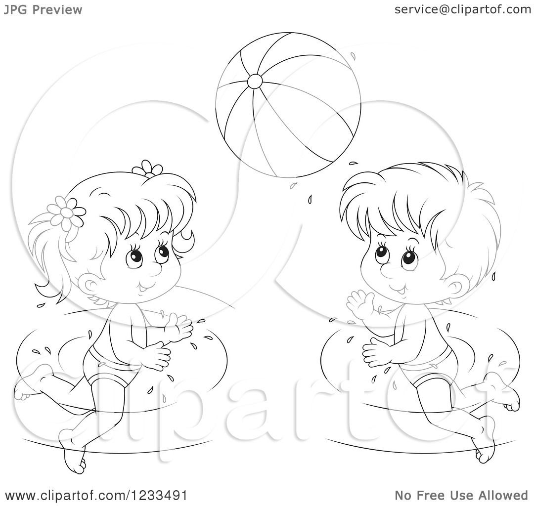 Clipart Of Happy Outlined Children Playing With A Beach