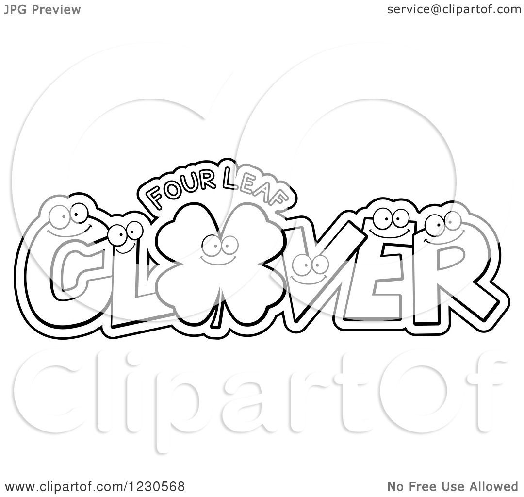 Clipart Of Outlined Leatters Forming The Word Clover With