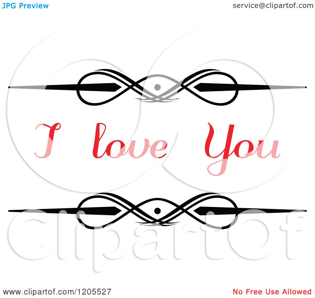 Download Clipart of Red I Love You Text with Swirls 2 - Royalty ...