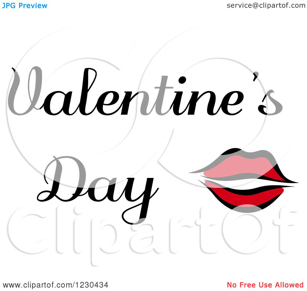 Clipart Of Red Lips With Valentines Day Text