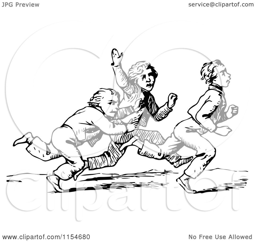 Clipart Of Retro Vintage Black And White Boys Running