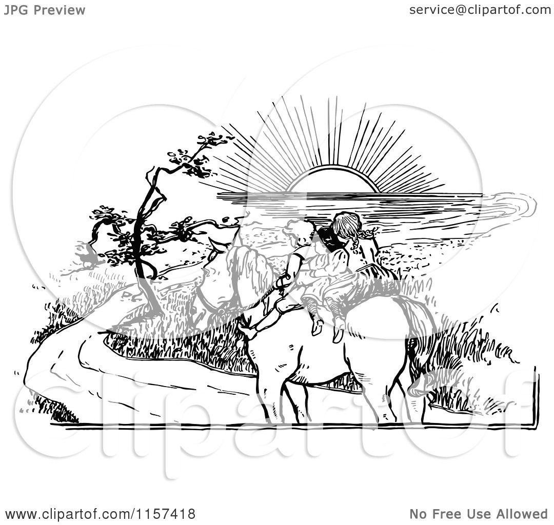 Clipart Of Retro Vintage Black And White Children Riding A