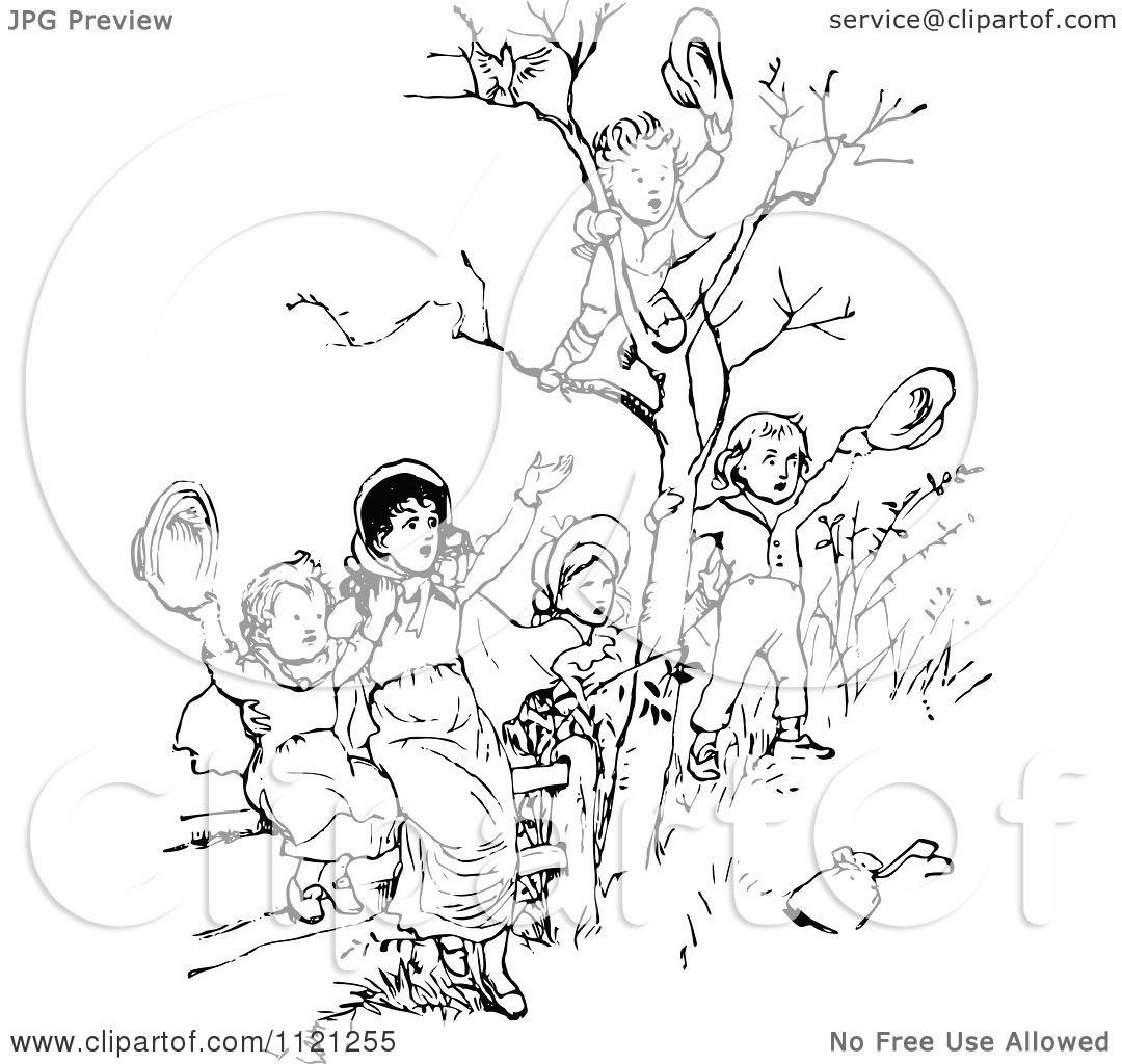Clipart Of Retro Vintage Black And White Children Waving
