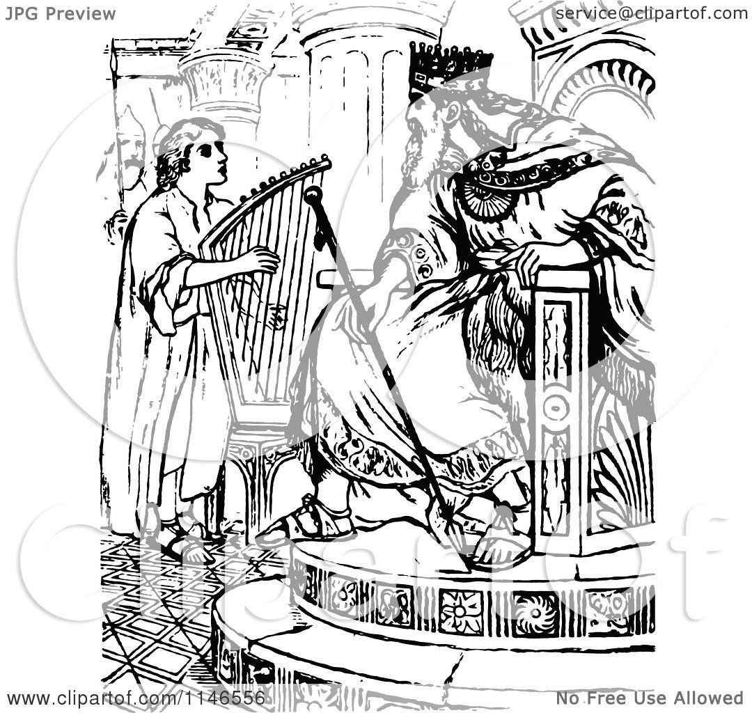 The King David Playing Harp Clip Art Cliparts