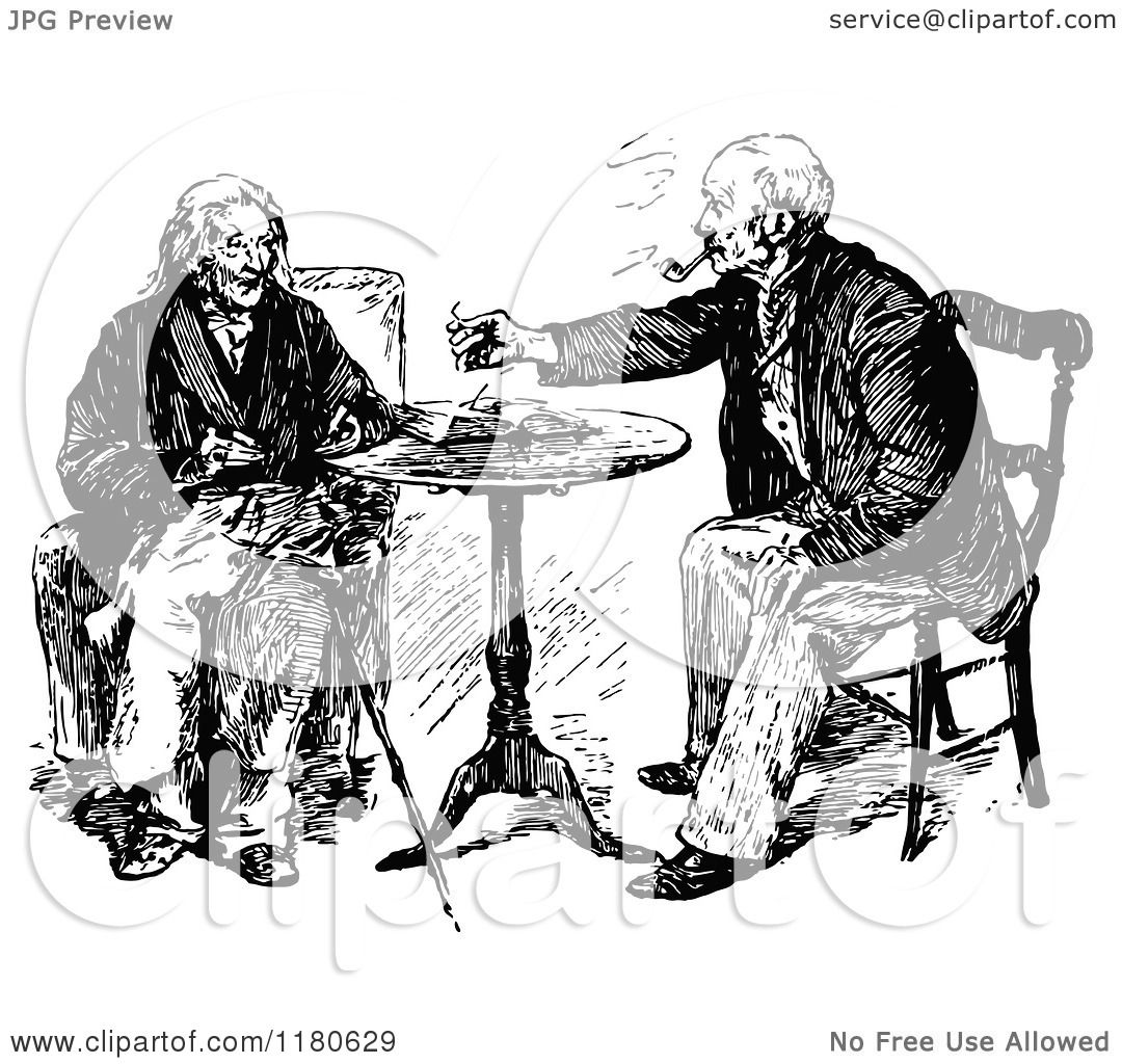 Clipart Of Retro Vintage Black And White Old Men Visiting